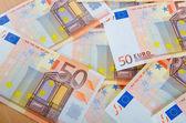 Euro banknotes arranged in set