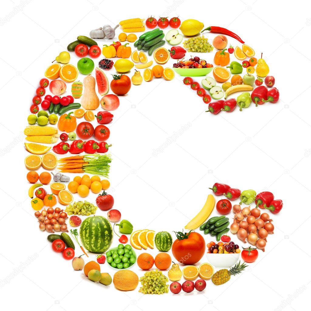 alphabet made of many fruits and vegetables u2014 stock photo elnur