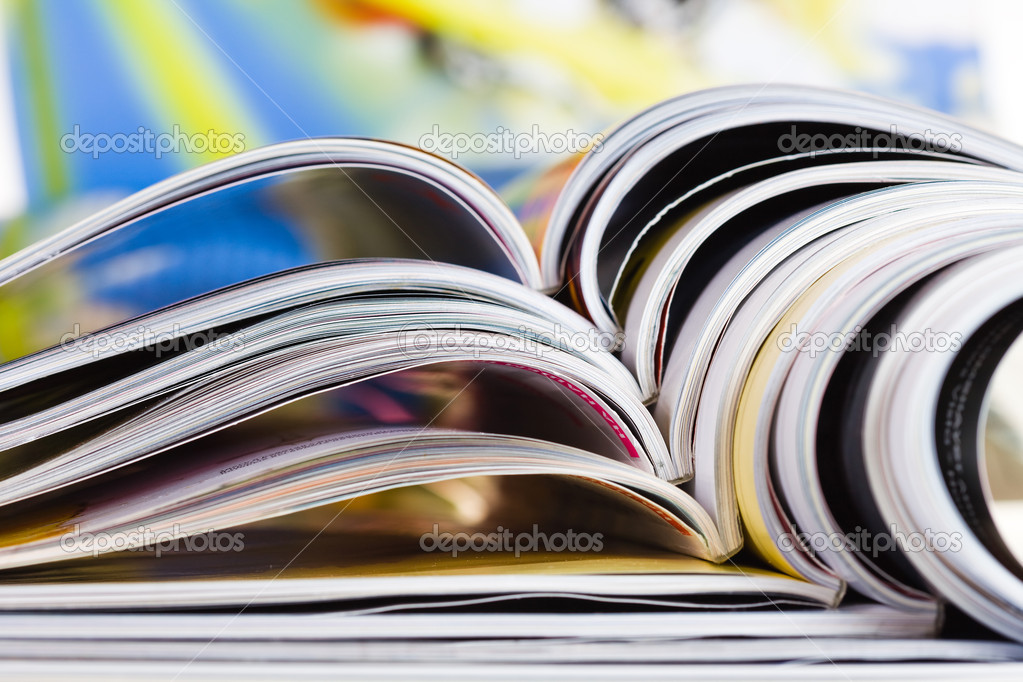 Old magazines with bending pages
