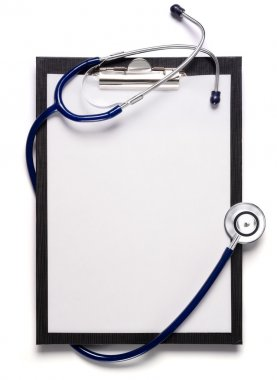 Blank clipboard with modern stethoscope, space for messages stock vector
