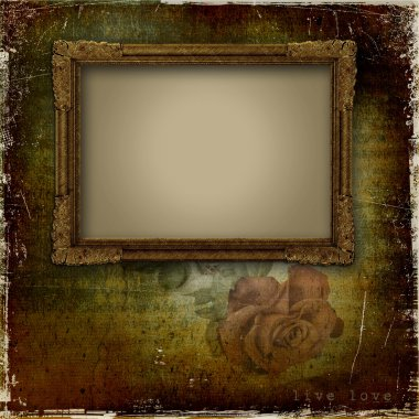 Vintage background with frame and rose