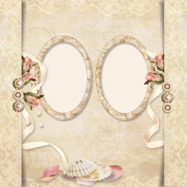 Old frame on victorian background with roses