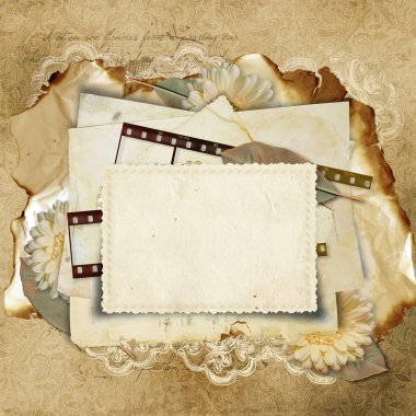 Vintage background with old cards