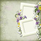 ročník pozadí snímku a jarní květy