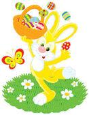 Easter Bunny Tänze mit einem Korb bemalte Eier