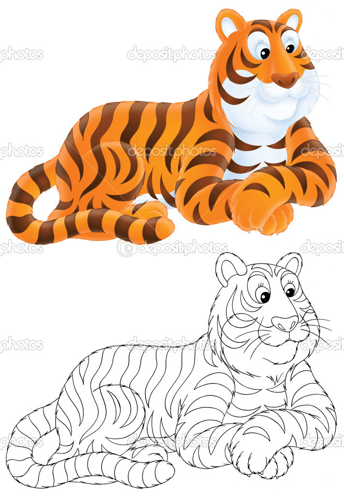 Tigre de mentira — Fotos de Stock © AlexBannykh #9260134