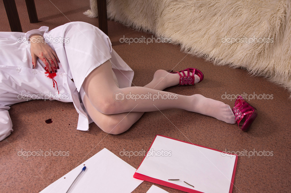 Crime Scene Simulation College Girl Lying Stock Photo