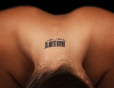 Tatoo on a female neck