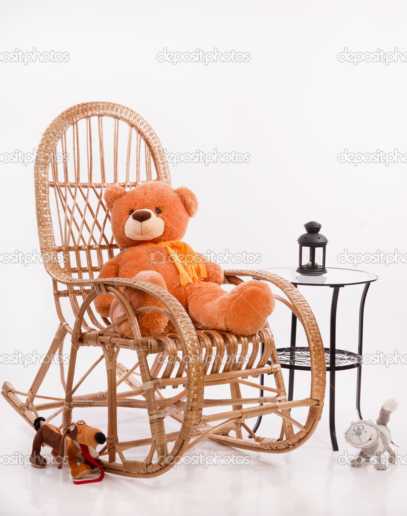 Old Wooden Rocking Chair With Toys Stock Photo 10494977