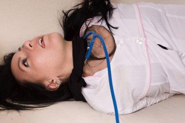 Crime scene imitation. Strangled nurse lying on the floor stock vector