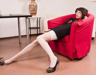 Crime scene simulation: businesswoman in a office