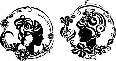 Vignette retro female profile