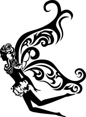 Beautiful flying fairy stencil
