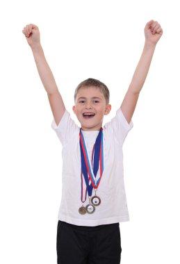 Happy boy with medals