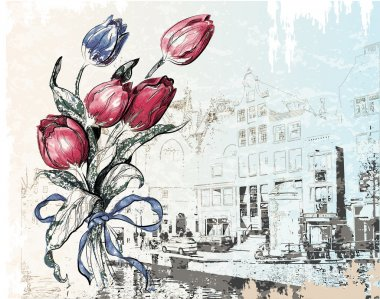 Vintage illustration of Amsterdam street and tulips. Watercolor