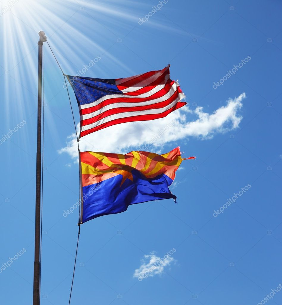 Flags of the United States and the Navajo Reservation