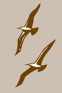 flying birds silhouette on brown background, vector illustration