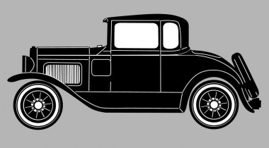 retro car on gray background, vector illustration