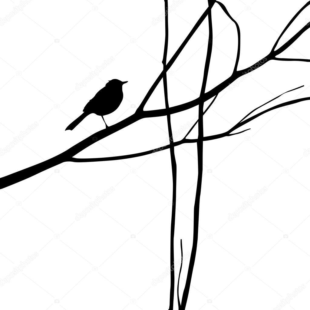 bird silhouette on wood branch vector illustration u2014 stock vector