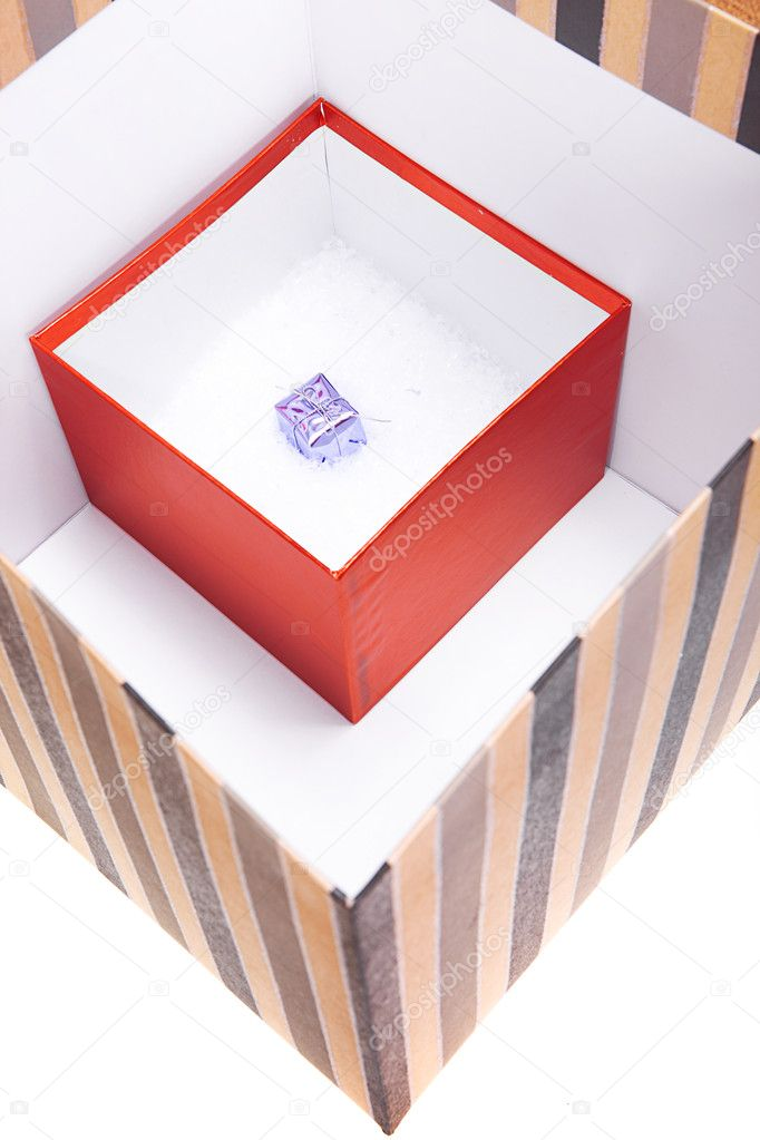 Gift Box In Box In Box Isolated On White Stock Photo
