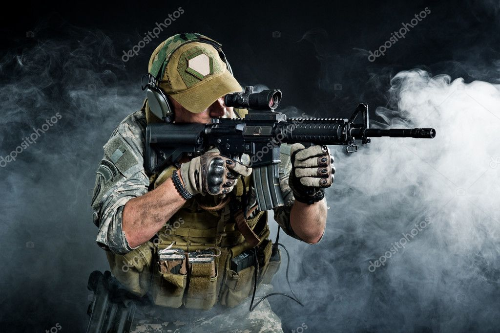 The attacking troops through the smoke after the explosion stock vector