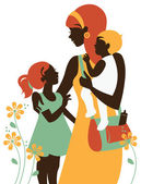 Photo Beautiful mother silhouette with her children. Card of Happy Mot