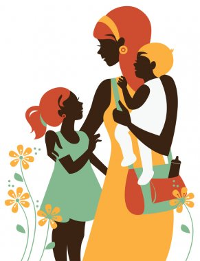 Beautiful mother silhouette with her children. Card of Happy Mot