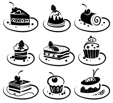 Set of cakes stock vector