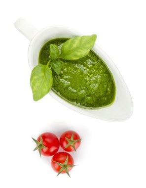 Pesto sauce and cherry tomatoes