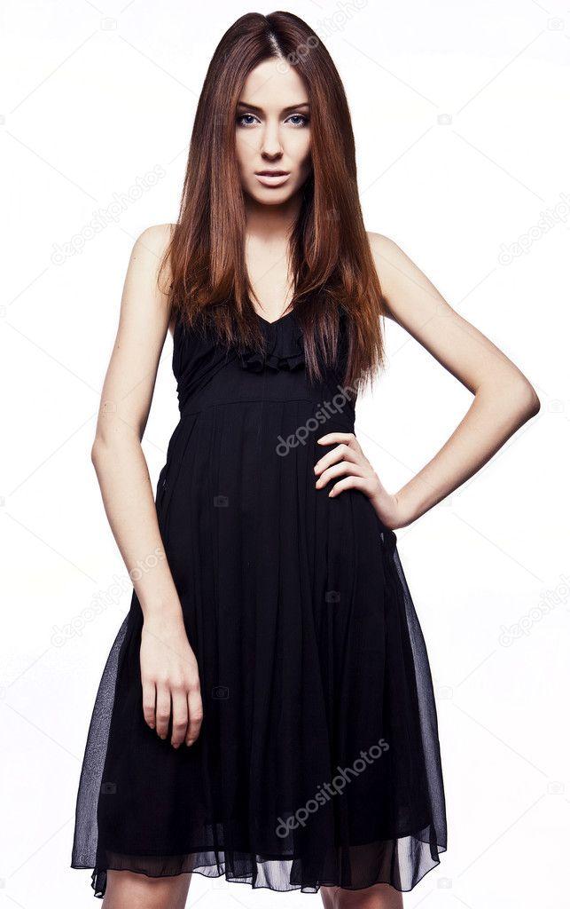 Klassiek Zwart Jurkje.Mooi Meisje In Klassieke Zwarte Jurk Stockfoto C Innervision 8975230