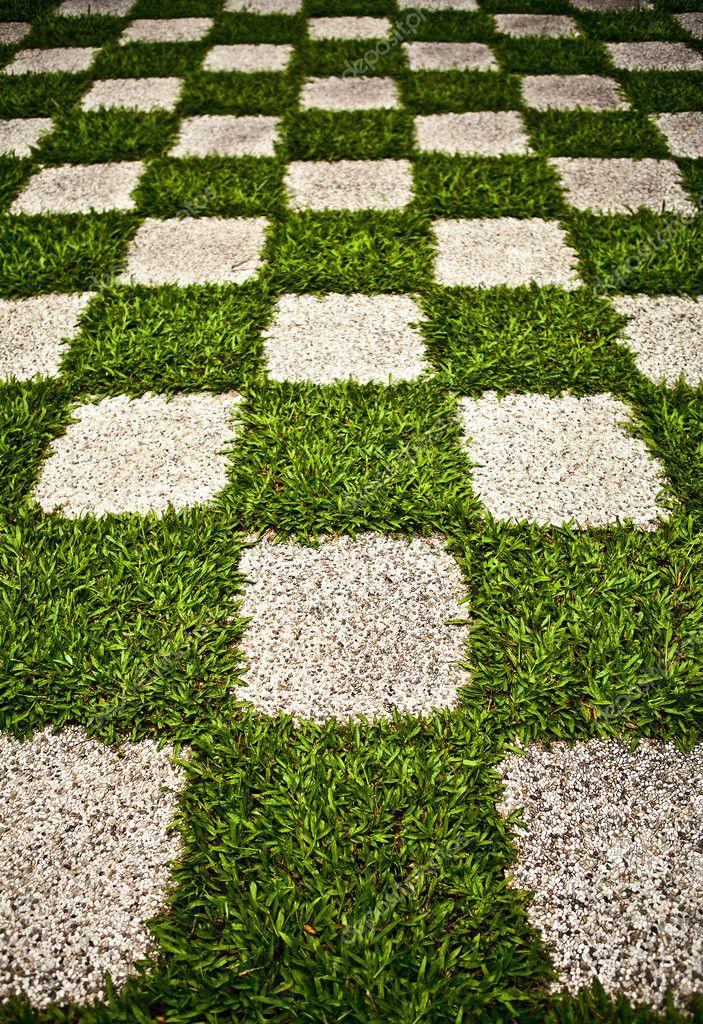 Verde jard n zen hierba de cuadros foto del fondo foto for Fotos jardin zen