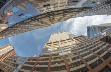 Upward view of New York City Skyscrapers