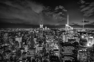 Black and White Night Lights of New York City