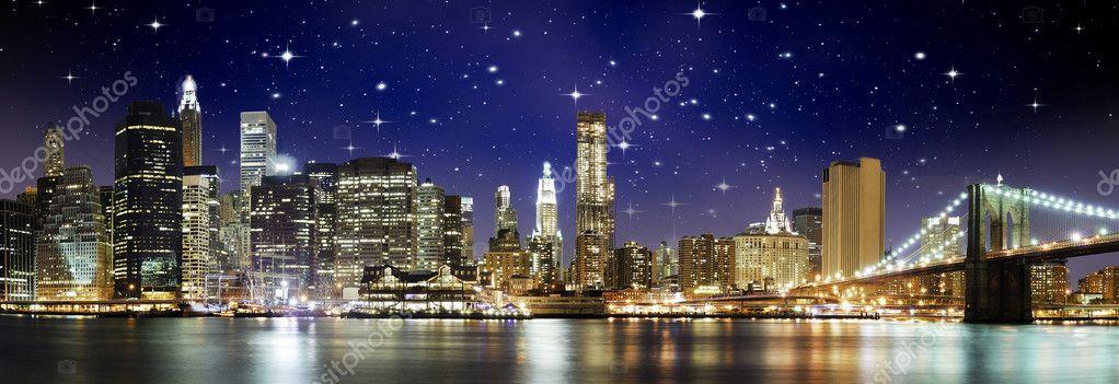 Night Colors over Brooklyn Bridge