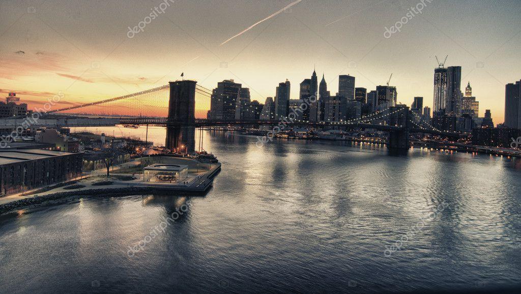 Winter Sunset over Brooklyn Bridge, New York City