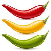 Hot chilli pepř vektorové sada izolovaných na bílém pozadí. červená, žlutá a zelená