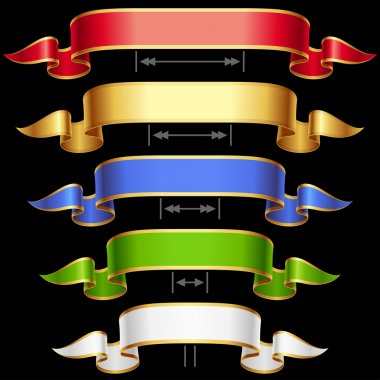 Ribbon set with adjusting length. Vector frame isolated on background.