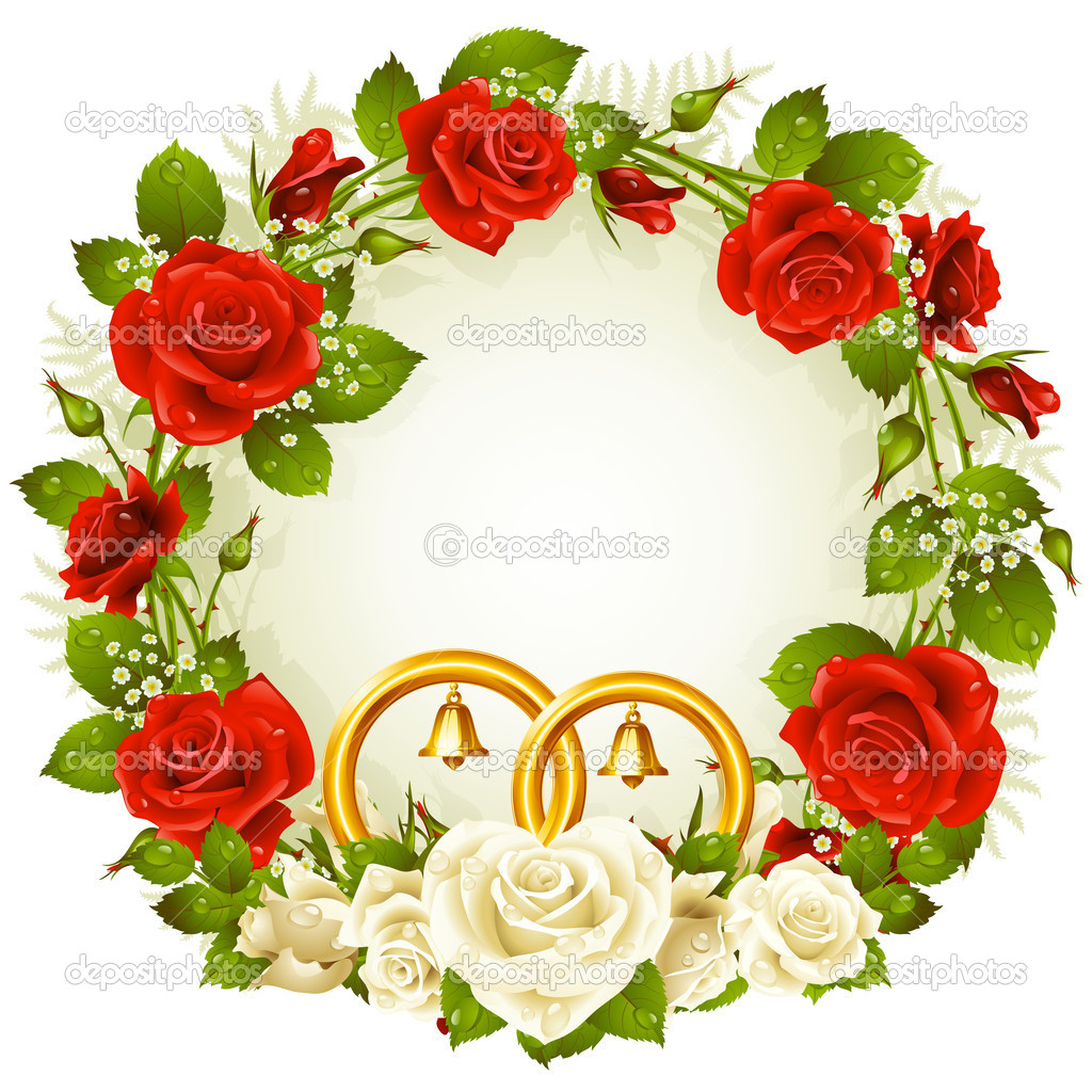 Flower frame. Vector white and red rose and golden wedding rings.