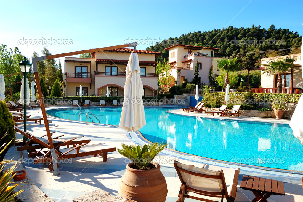 Swimming pool at the modern luxury hotel, Halkidiki, Greece
