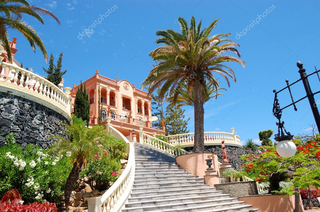 Front staircase at luxury hotel decorated with flowers, Tenerife