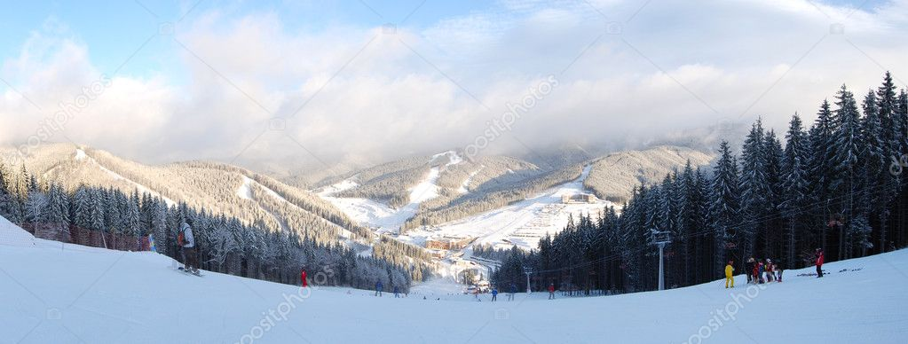 The slope's panorama of of Bukovel ski resort, Ukraine