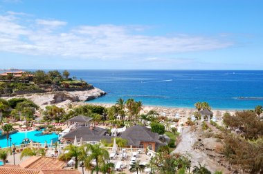 View on a beach and outdoor restaurant of the luxury hotel, Tene