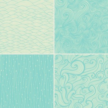 Set of four seamless abstract hand-drawn pattern, waves backgrou