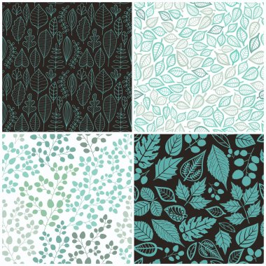 Set of Four Seamless Pattern With Leaf. Abstract leaf texture, endless background.Seamless pattern can be used for wallpaper, pattern fills, web page background, surface textures. stock vector