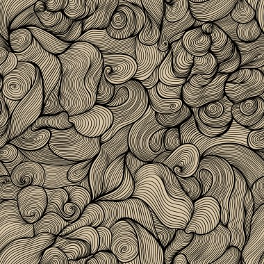 Bright seamless abstract hand-drawn pattern, waves background. C