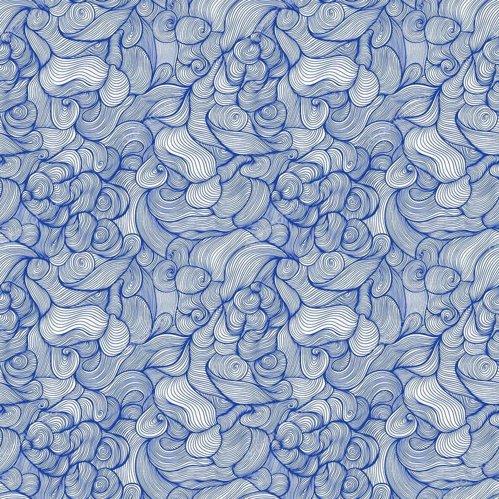 seamless abstract hand-drawn pattern, waves background. Abstract