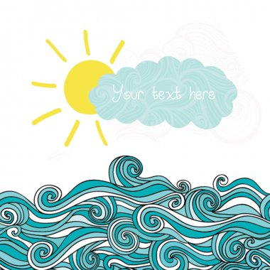 Sea illustration with sun and cloud, maritime background with pl