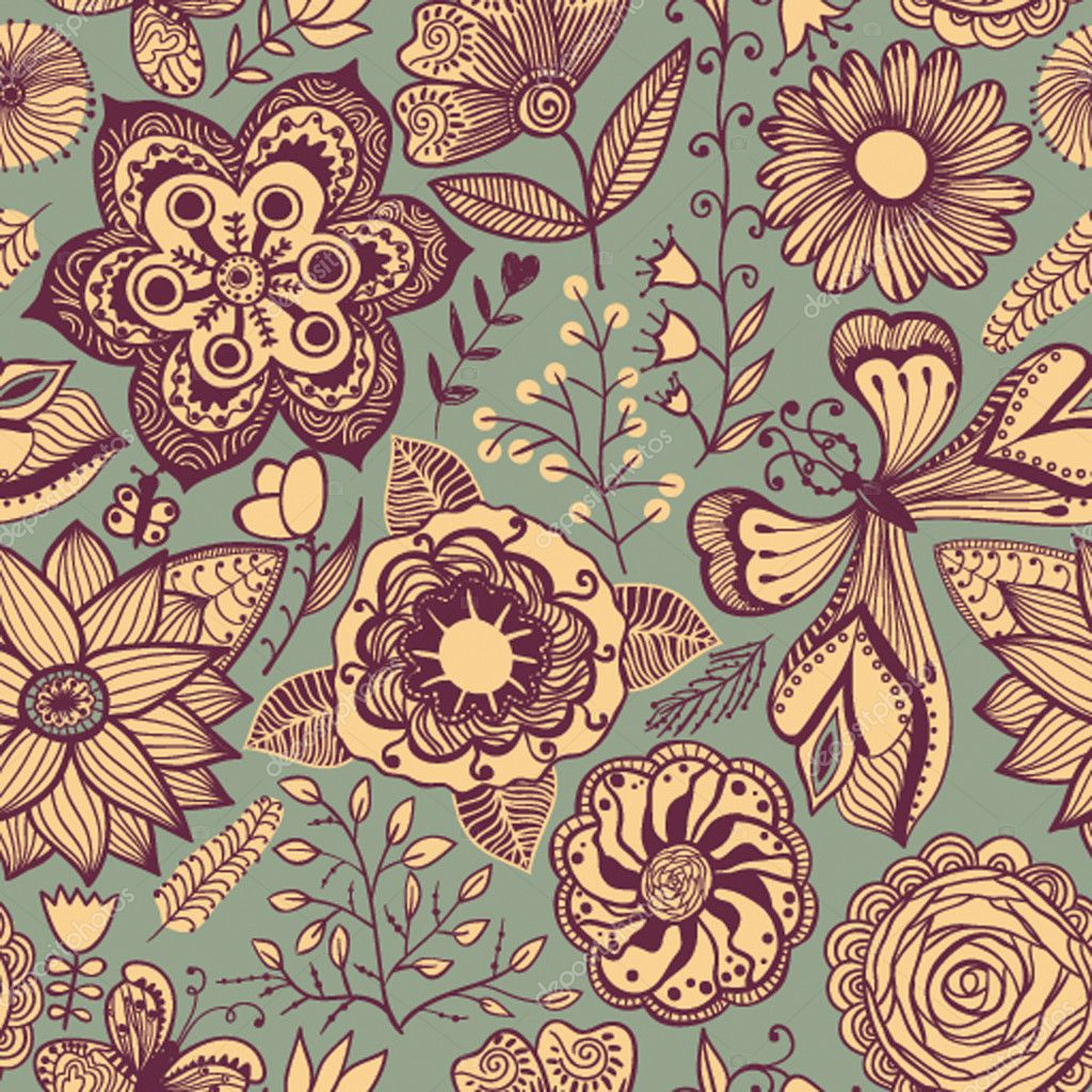 Seamless texture with flowers and butterflies. Endless floral pa