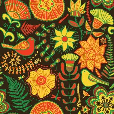 """Картина, постер, плакат, фотообои """"бесшовная текстура с цветами и голубями. бесконечная цветочная болтовня ирисы белые герберы художники"""", артикул 8066523"""
