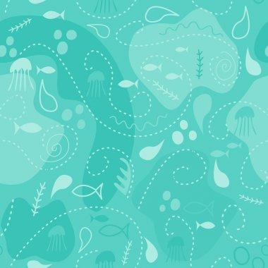 sea world seamless pattern, under water world wallpaper with fis